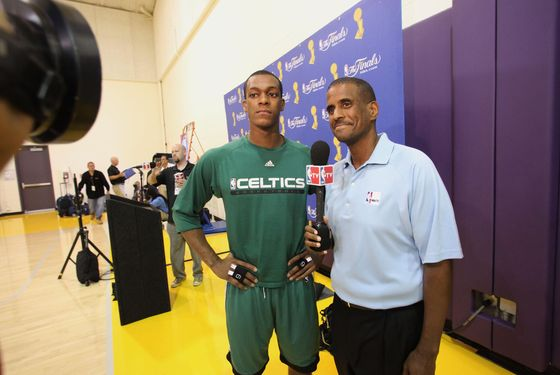 LOS ANGELES - JUNE 5:  Rajon Rondo #9 of the Boston Celtics speaks to reporter David Aldridge during media availabilty for the 2010 NBA Finals on June 5, 2010 at Toyota Sports Center in Los Angeles, California.  NOTE TO USER: User expressly acknowledges and agrees that, by downloading and/or using this Photograph, user is consenting to the terms and conditions of the Getty Images License Agreement. Mandatory Copyright Notice: Copyright 2010 NBAE (Photo by Nathaniel S. Butler/NBAE via Getty Images)