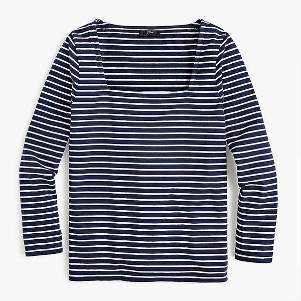 Square-Neck T-shirt in Stripe