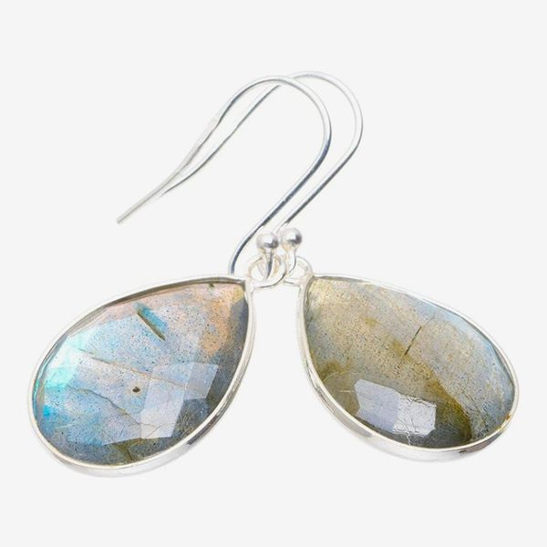 Natural Blue Fire Labradorite Handmade Unique 925 Sterling Silver Earrings