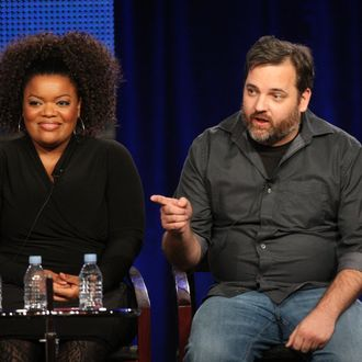 Actress Yvette Nicole Brown and Executive Producer/ Creator Dan Harmon speak during the
