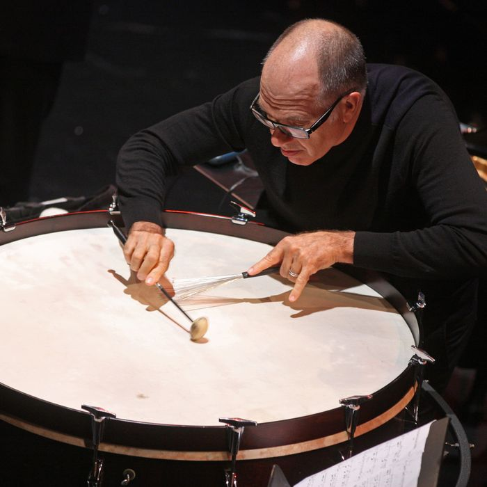 International Contemporary Ensemble performs an all-Pauline Oliveros program at the Clark Studio Theater as part of Mostly Mozart Festival on Tuesday night, August 20, 2013. This image: Steven Schick performing