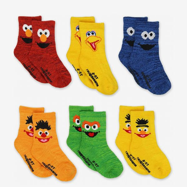 Sesame Street Toddler Crew Socks with Grippers
