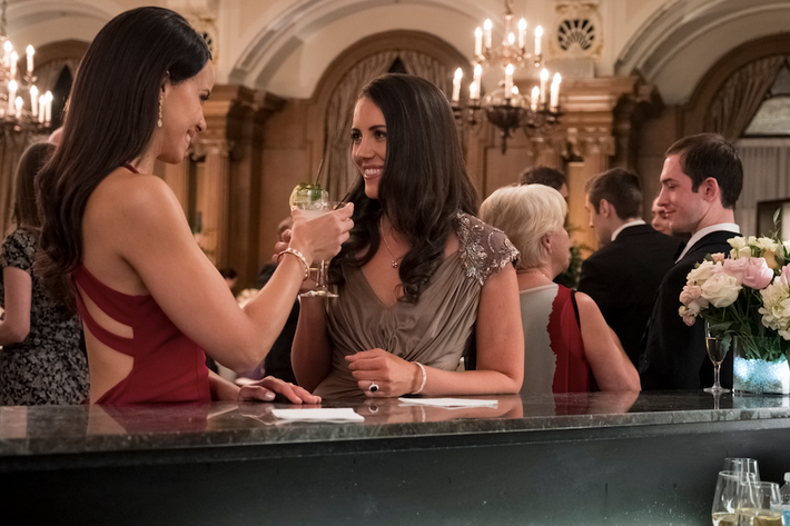 The actresses playing Meghan Markle and Kate Middleton in Harry and Meghan: A Royal Romance.