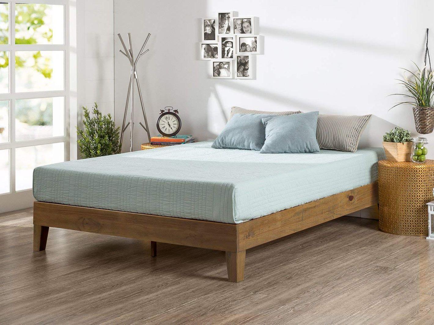 Zinus Alexis 12-Inch Deluxe Wood Platform Bed, Rustic Pine Finish, Queen