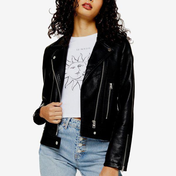 Topshop Black Faux Leather Biker Jacket