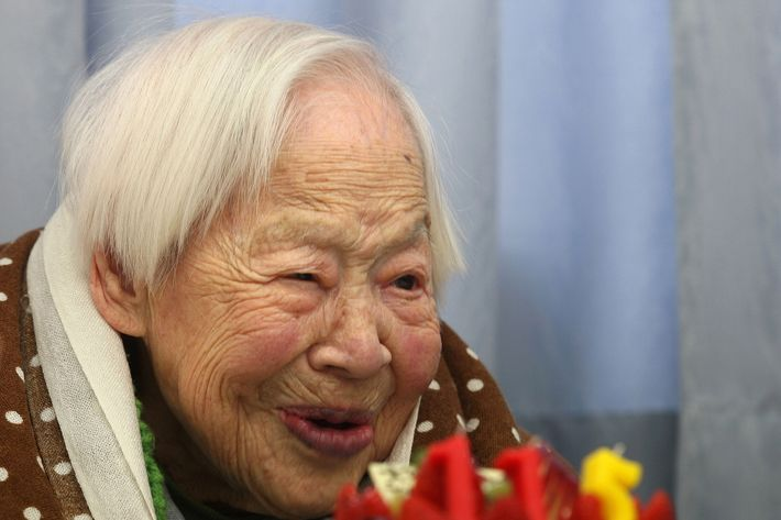 Misao Okawa, who is recognised by Guinness World Records as the world's oldest woman, receives a birthday cake during her 115th birthday celebrations at Kurenai Nursing Home on March 5, 2013 in Osaka, Japan. Misao Okawa, was born in Tenma, Osaka, on March 5, 1898. A descendent of Kimono merchants, she married in 1919 and had three children, of which a daughter and a son are still alive, and four grandchildren and six great-grandchildren.