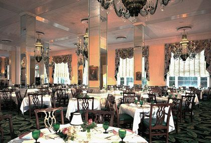"<b>The Destination:</b> <a href=""http://www.greenbrier.com/dining/The-Main-Dining-Room.aspx"">Main dining room at the Greenbrier Resort</a> in White Sulphur Springs  <b>How to Get There:</b> Greenbrier Valley is an hour and a half from Roanoke, Virginia, and and hour and 45 minutes from Charleston, West Virginia.  <b>When to Go:</b> Year-round. Temperatures average at a pleasant 85 in summer, spring and fall hold foliage appeal, and winter is marked by holiday celebrations.     The massive century-and-a-half-old colonial-style Greenbrier Resort houses many restaurants, but none more elegant than the main dining room, where a jacket is required for gentlemen, and a dress or evening suit must be worn by ladies. Green-and-crystal chandeliers sparkle from high ceilings while underneath, diners tuck into haute fare like wild-mushroom consomme and veal medallions with lobster, a far cry from the rustic, farm-to-table ethos that's overtaken many a dining scene of late; reservations recommended.  <i>The Greenbrier, 300 W. Main St., White Sulphur Springs, WV; 855-729-3778.</i>"