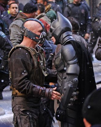 Christian Bale dressed as 'Batman' and his co-star Tom Hardy dressed as the villain 'Bane' pictured filming a fighting scene on the set of 'The Dark Knight Rises' movie outside the Stock Exchange Building in Wall Street, Downtown Manhattan. <P> Pictured: Christian Bale and Tom Hardy <P> <B>Ref: SPL332783 061111 </B><BR/> Picture by: Jose Perez / Splash News<BR/> </P><P> <B>Splash News and Pictures</B><BR/> Los Angeles:	310-821-2666<BR/> New York:	212-619-2666<BR/> London:	870-934-2666<BR/> photodesk@splashnews.com<BR/> </P>