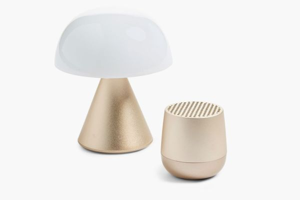 Lexon Mini LED Lamp & Portable Bluetooth Speaker Set In Soft Gold
