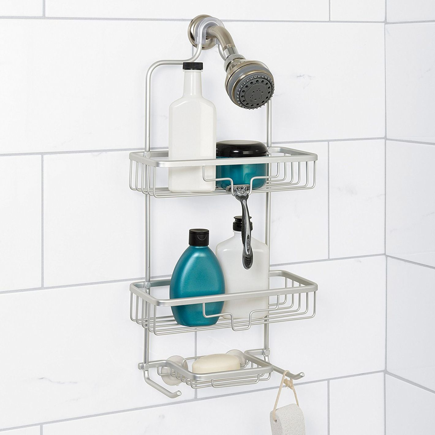 Zenna Home 7402AL, NeverRust Aluminum Shower Caddy, Satin Chrome
