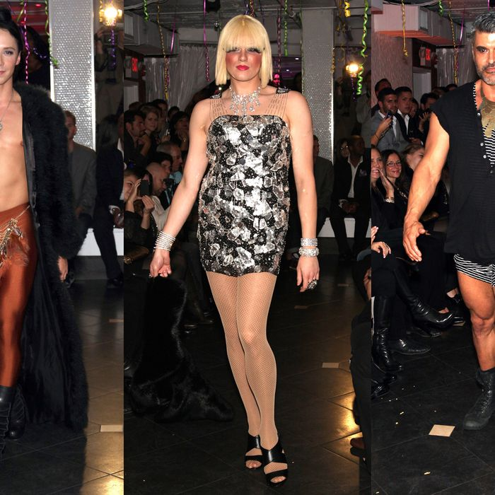 From left: Johnny Weir, Victoria Falls, and Mike Ruiz at New Jersey Fashion Week.