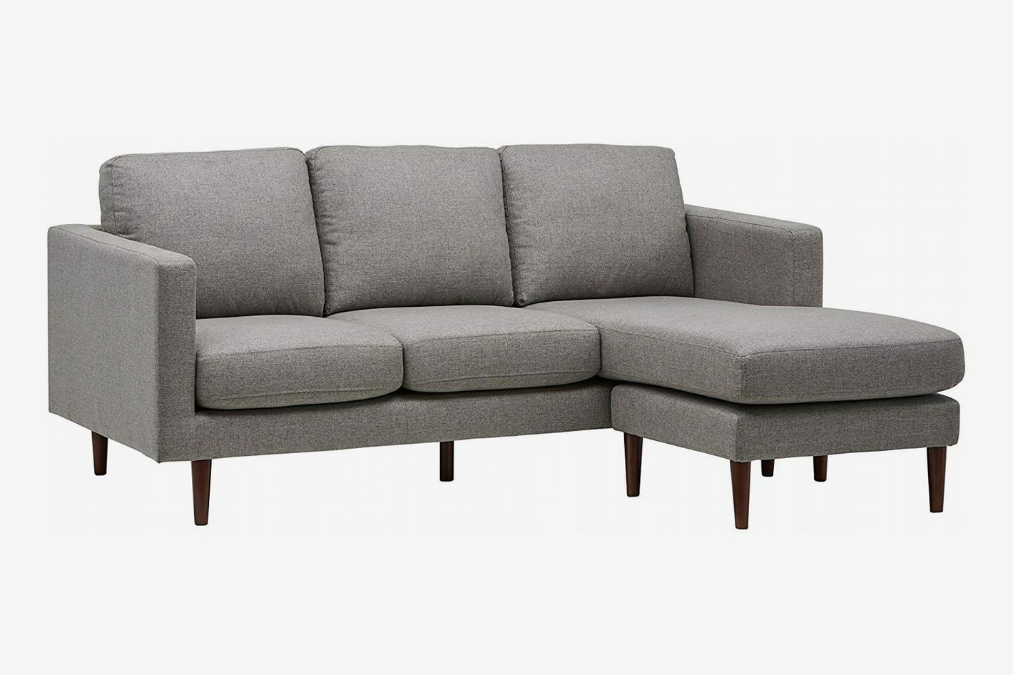 "Rivet Revolve Modern Reversible Chaise Sectional, 80""W, Grey Weave"