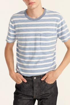 J.Crew Indigo-Dyed Slub Cotton Pocket T-Shirt