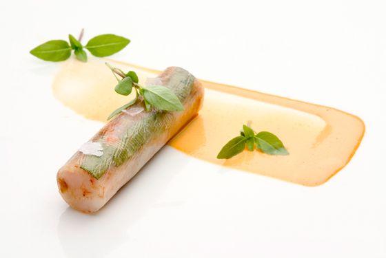 Shrimp cannelloni with Thai basil and chorizo.