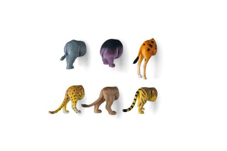Kikkerland Safari Animal Butt Magnets, Set of 6