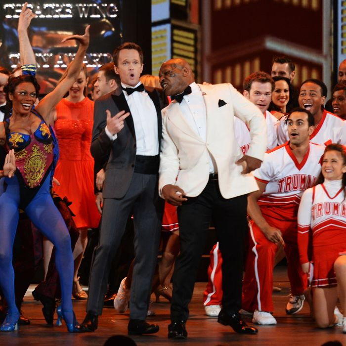 NEW YORK, NY - JUNE 09: Host Neil Patrick Harris and Mike Tyson perform onstage at The 67th Annual Tony Awards at Radio City Music Hall on June 9, 2013 in New York City. (Photo by Andrew H. Walker/Getty Images for Tony Awards Productions)