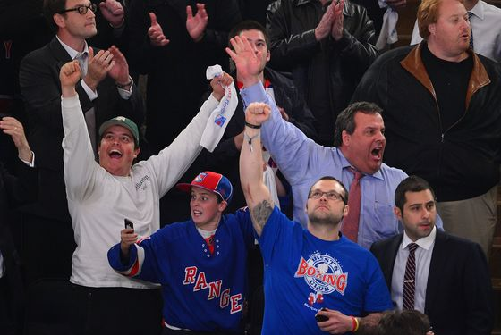 NEW YORK, NY - APRIL 26:  Andrew Christie, Patrick Christie, Joba Chamberlain and New Jersey Governor Chris Christie attend the Ottawa Senators vs the New York Rangers Playoff Game at Madison Square Garden on April 26, 2012 in New York City.  (Photo by James Devaney/WireImage)