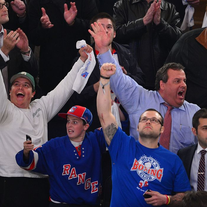 Andrew Christie, Patrick Christie, Joba Chamberlain and New Jersey Governor Chris Christie attend the Ottawa Senators vs the New York Rangers Playoff Game at Madison Square Garden on April 26, 2012 in New York City.
