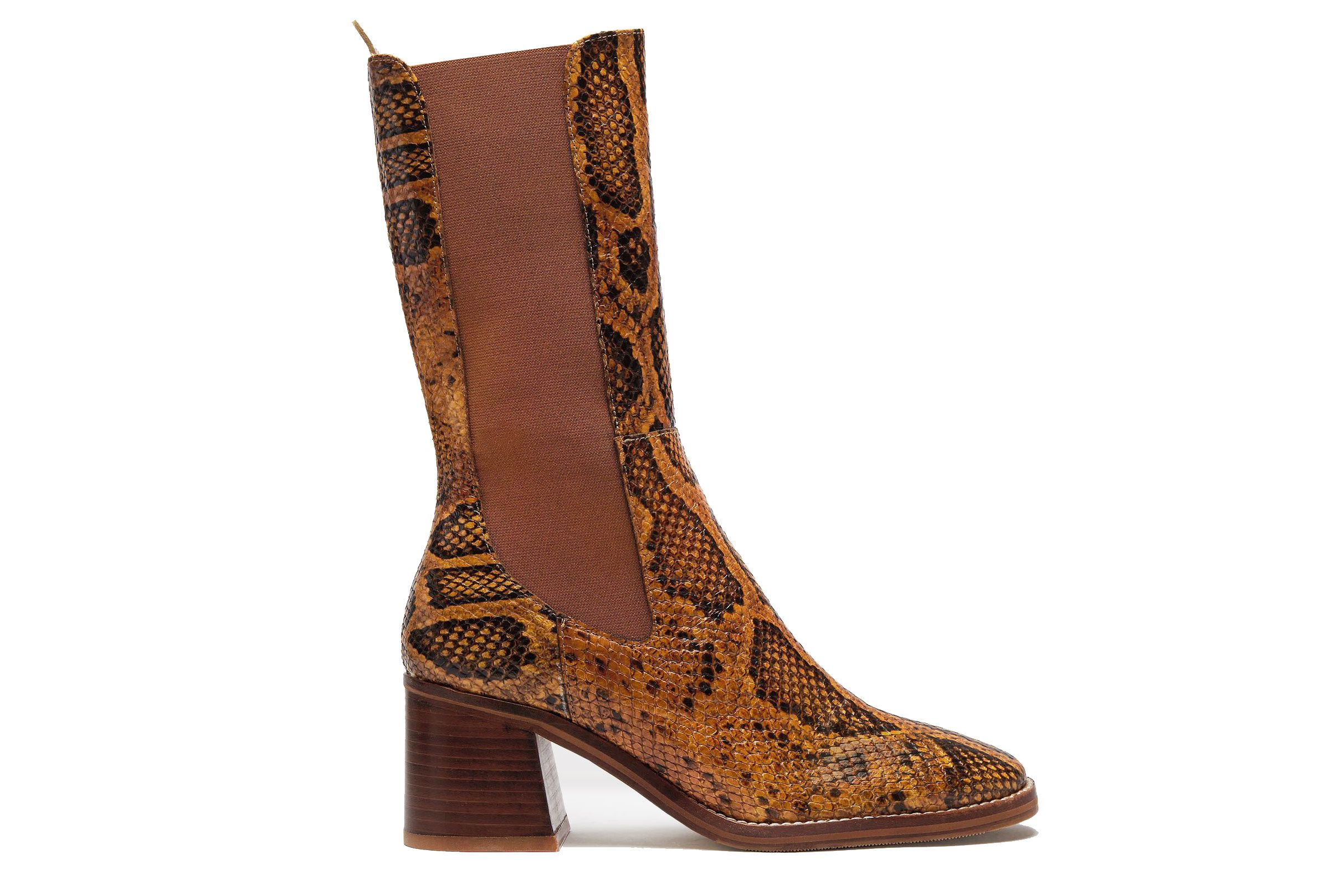 Macy citrine snake leather boots
