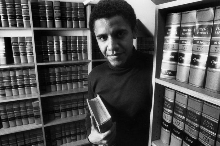 Barack Obama poses in the office of The Harvard Law Review on Monday, Feb. 5, 1990, after being named President of The Harvard Law Review.
