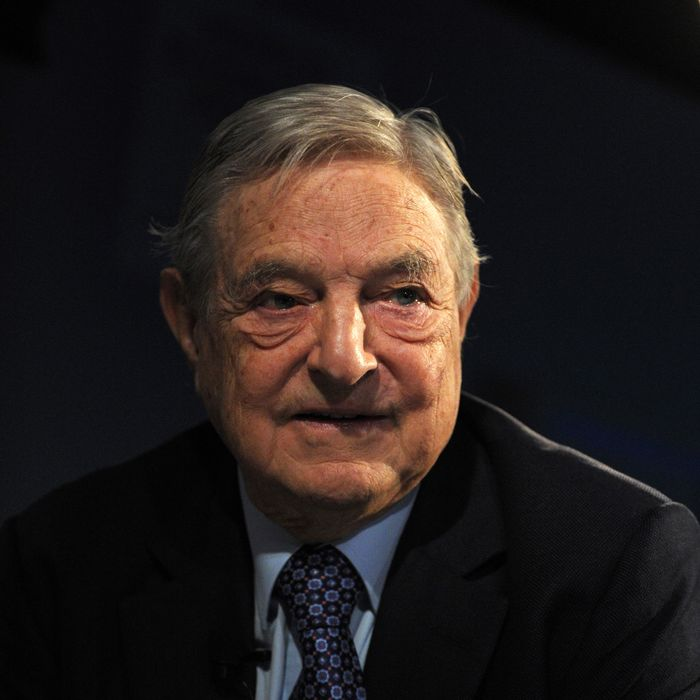 Soros Fund Management Chairman George Soros poses on January 26, 2013, during the World Economic Forum (WEF) meeting in the Swiss resort of Davos. The WEF will see top politicians and business leaders pursue talks on whether they have seen the back of the global financial crisis.