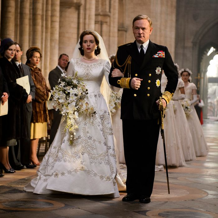Claire Foy as Elizabeth, Jared Harris as George VI.