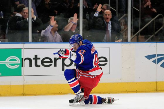 NEW YORK, NY - DECEMBER 08: Artem Anisimov #42 of the New York Rangers celebrates scoring a goal in the second period against the Tampa Bay Lightning at Madison Square Garden on December 8, 2011 in New York City.  (Photo by Chris Trotman/Getty Images)