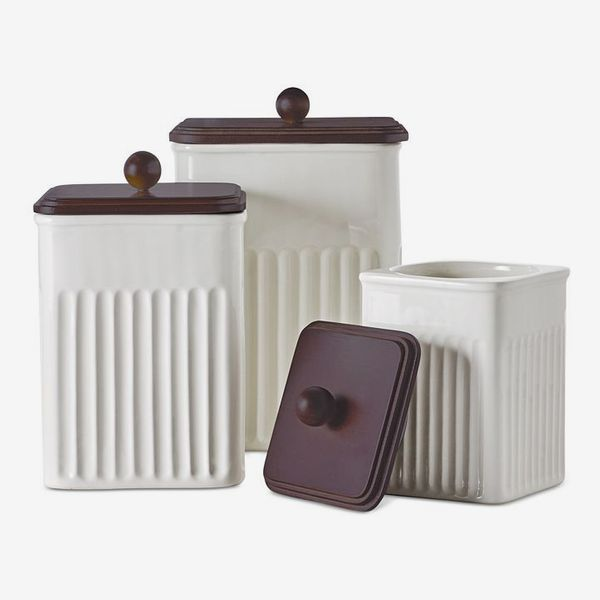 Martha Stewart Collection. 3-Pc. Ceramic & Wood Canister Set