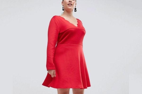 AX Paris Plus scalloped edge swing dress