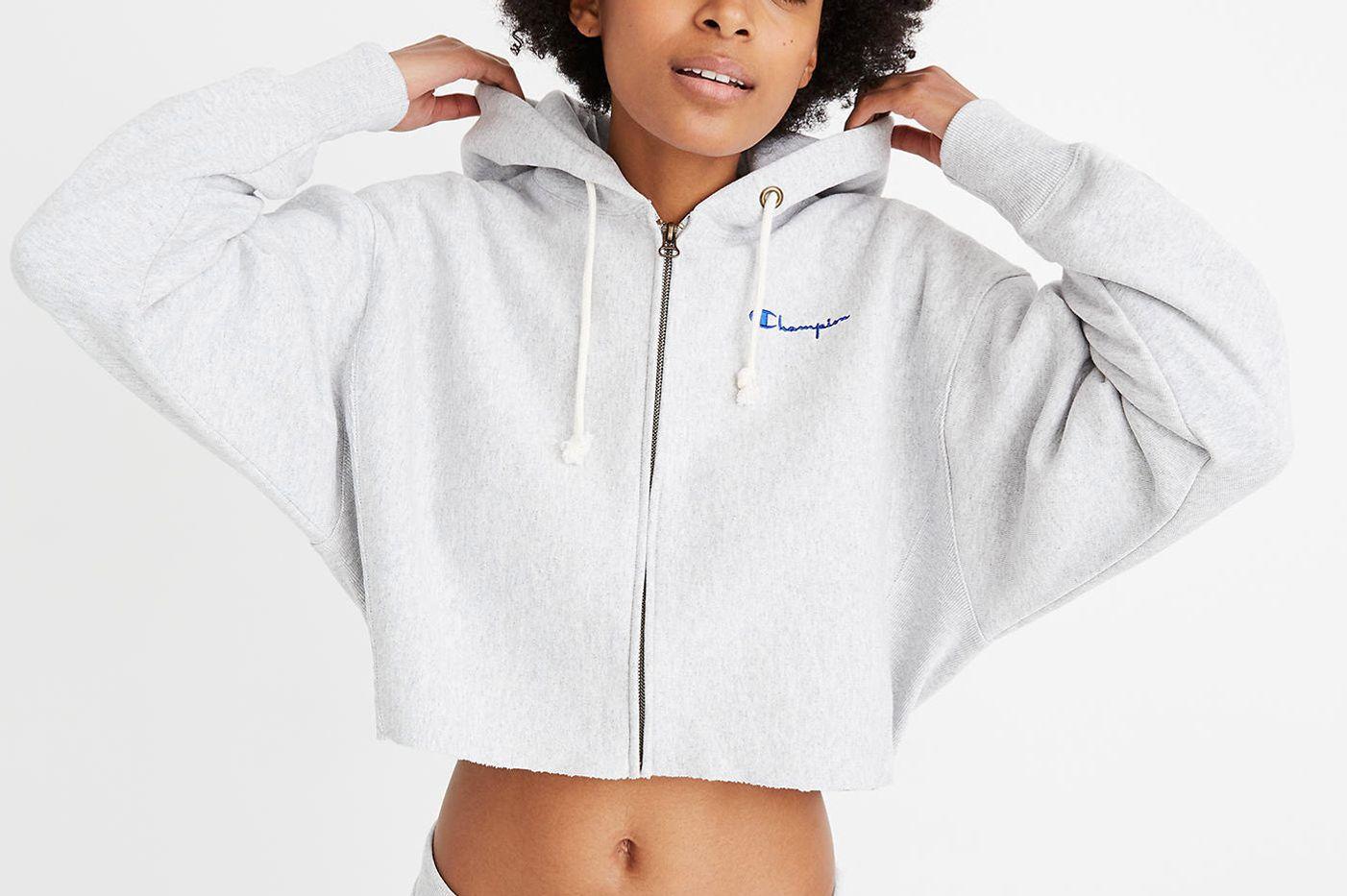 Champion Reverse Weave Cropped Full-Zip Hoodie Sweatshirt