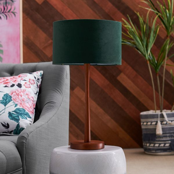 Drew Barrymore Flower Home Wood Table Lamp with Green Velvet Shade