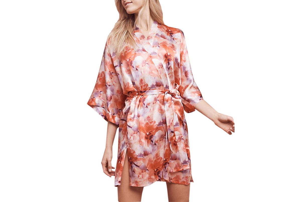 Samantha Chang Floral Silk Kimono Robe