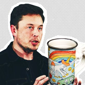 Elon Musk, the farting unicorn design in question.