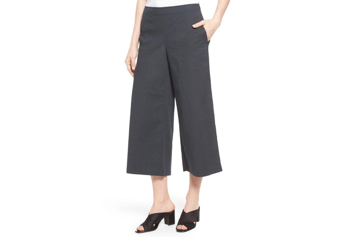 Eileen Fisher Stretch Organic Cotton Crop Wide Leg Pants