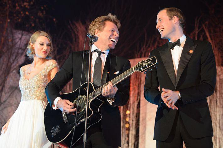 Taylor Swift, Jon Bon Jovi, and Prince William.