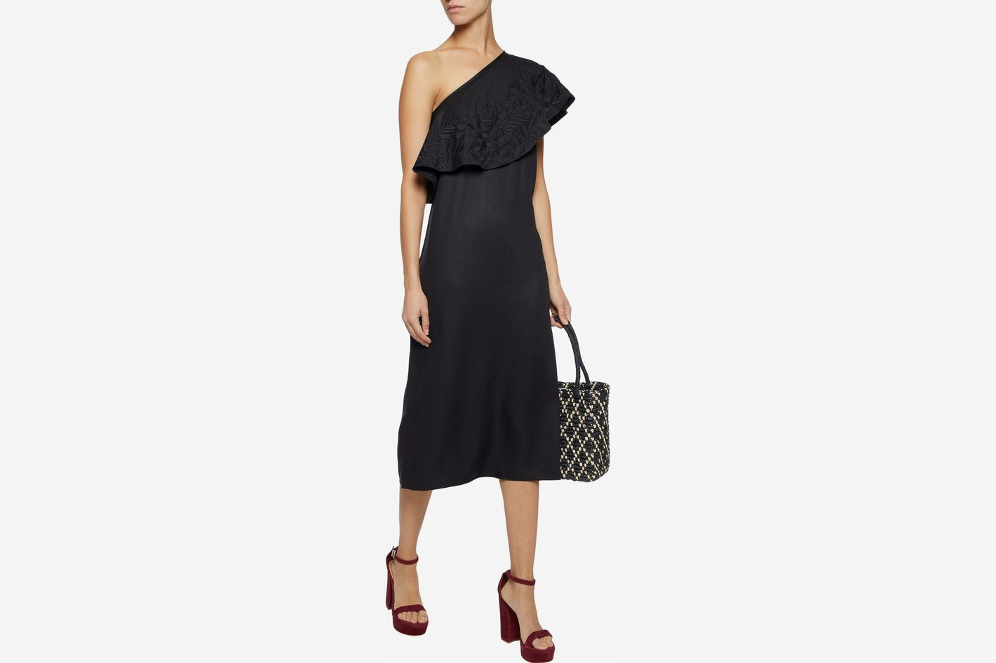 Mara Hoffman One-Shoulder Embroidered Faille Midi Dress