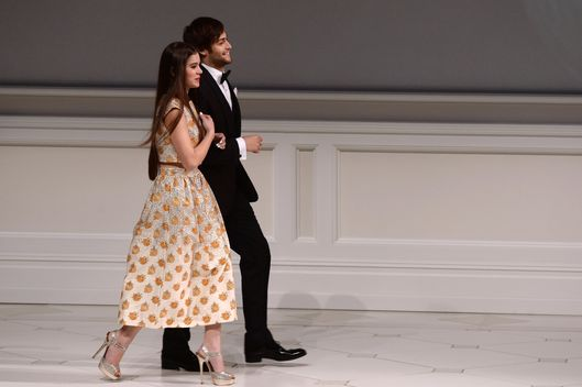 Actors Hailee Steinfeld and Douglas Booth speak onstae at the 2013 CFDA Fashion Awards on June 3, 2013 in New York, United States.