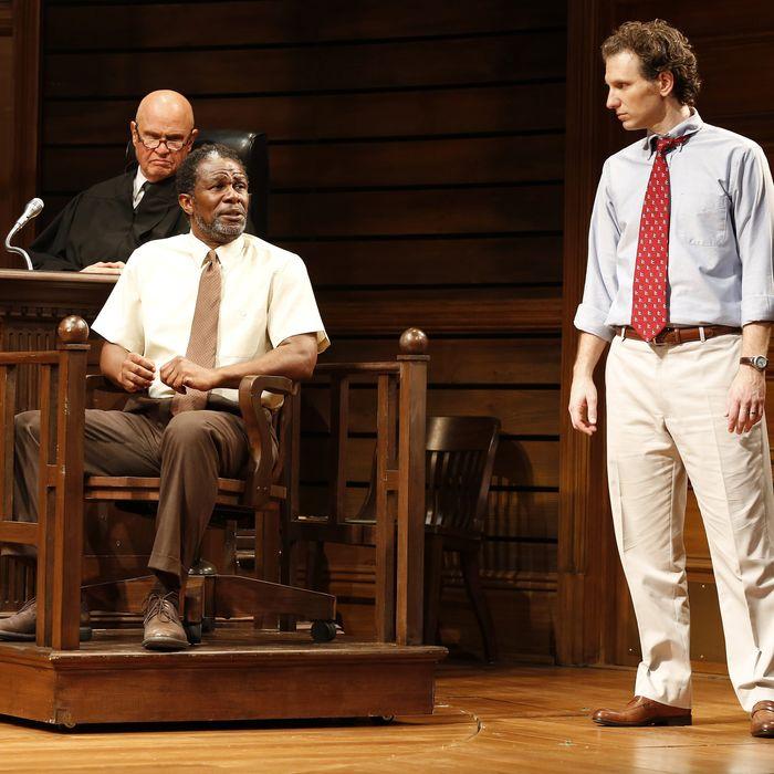Fred Dalton Thompson, John Douglas Thompson and Sebastian Arcelus in a scene from the Broadway adaptation of A Time to Kill