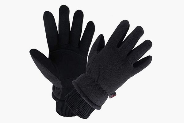 OZERO Water Resistant Thermal Glove with Deerskin Suede Leather and Insulated Polar Fleece