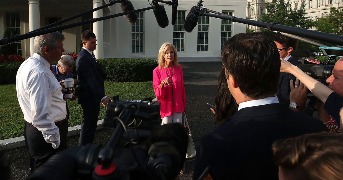 White House Adviser Kellyanne Conway Speaks To The Press At The White House