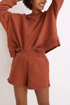 Madewell MWL Airyterry Stitched-Pocket Sweatshorts (Heather Brick)
