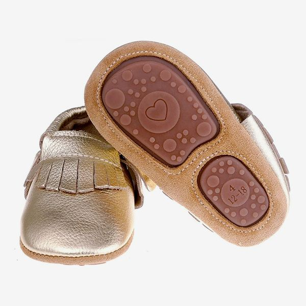 Pidoli Baby Leather Moccasins With Rubber Sole