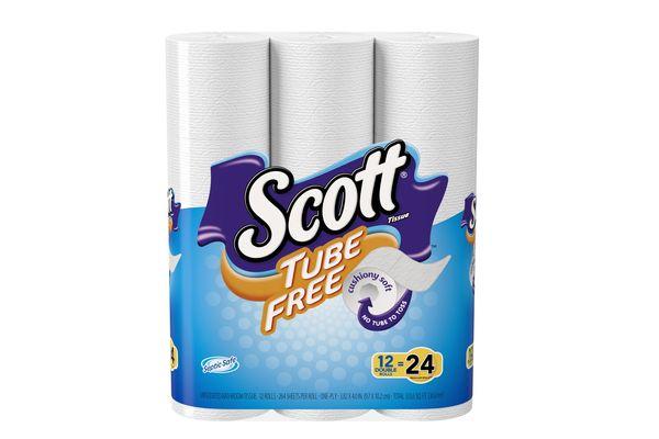Scott Tube Free Toilet Paper, 12 Double Rolls