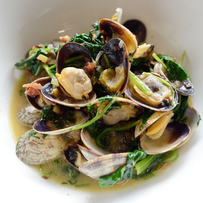 Clams in bacon-coconut broth.