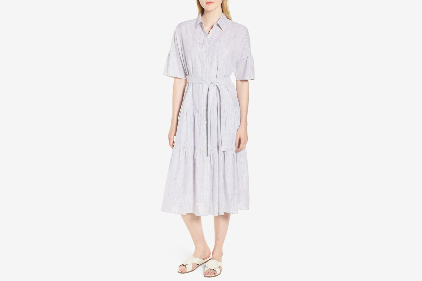 Nordstrom Tiered Stripe Shirtdress