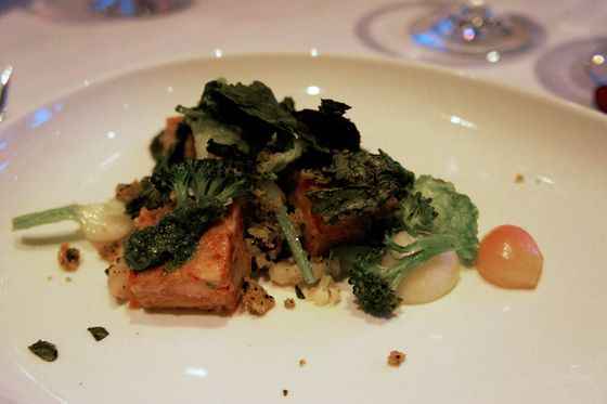 The first course at the Swine & Wine Dinner was this delicious dish by John Paul Carmona of warmed head cheese with early spring vegetables and a kale and seaweed pistou.
