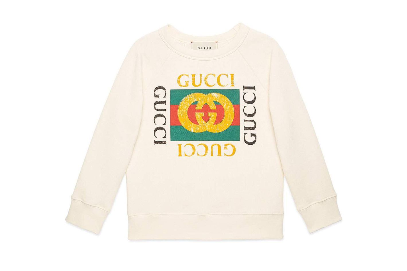 hypebeast kids. Gucci Long-Sleeve Gucci Print Sweatshirt