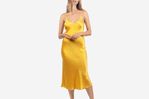 90s Silk Slip Dress in Dandelion Dot