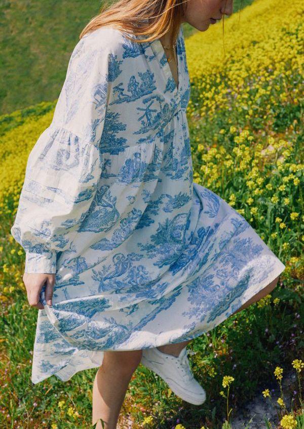 Laura Ashley UO Exclusive Amelia Cherub Poplin Midi Dress