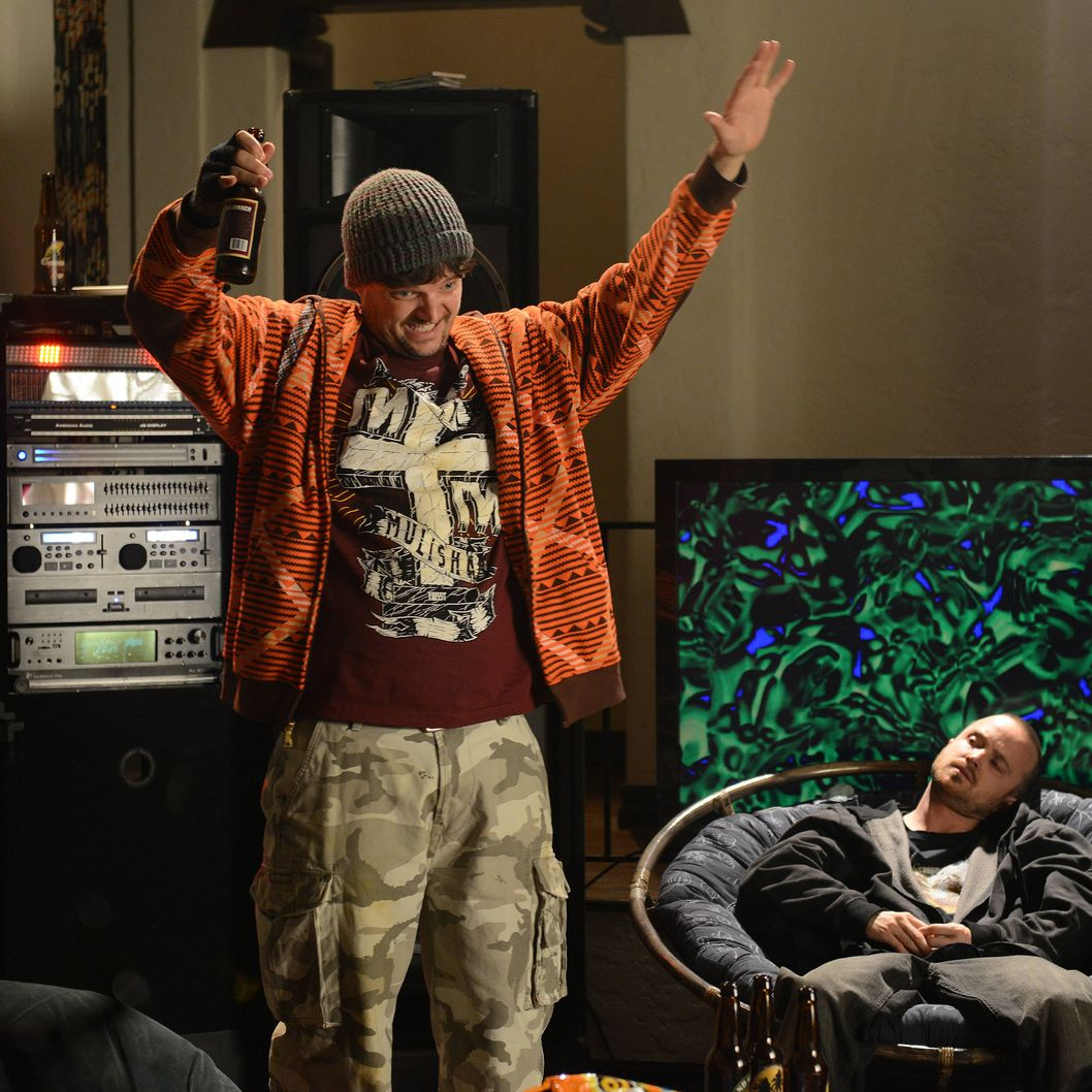 Badger (Matt Jones) and Jesse Pinkman (Aaron Paul) - Breaking Bad _ Season 5, Episode 9 - Photo Credit: Ursula Coyote/AMC